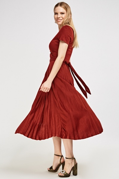 Pleated Tie-Back Dress