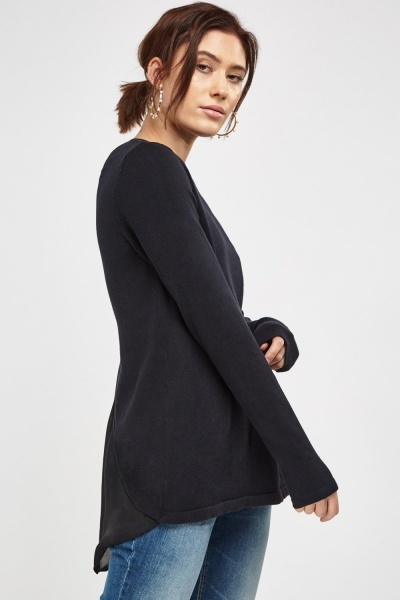 Contrast Long Sleeve Knitted Top