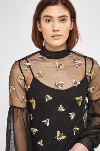 Embroidered Bee Mesh Top