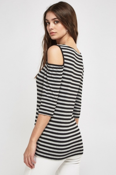 Cut Out Shoulder Striped Top