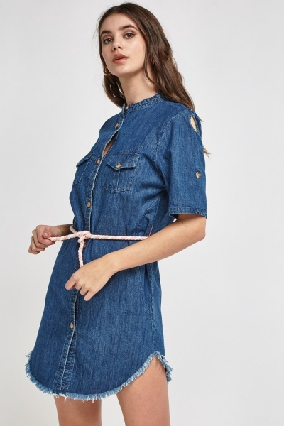 Denim Collarless Shirt Dress