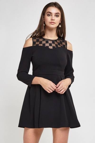 Mesh Insert Contrast Swing Dress
