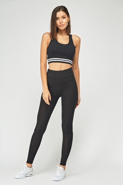 Ribbed Crop Top And Legging Set Just 7