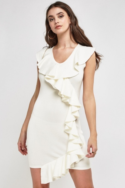 Ruffled Front Cream Dress