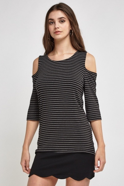 Striped Cut Out Shoulder Top