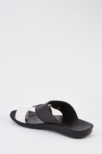 Black Cross Over Mens Sandals