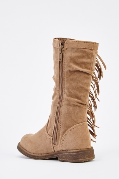 Suedette Fringed Girls Boots