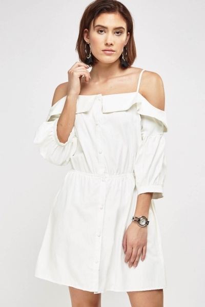 Button Up Cold Shoulder Dress