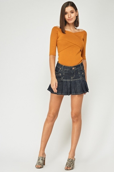Denim Pleated Mini Skirt