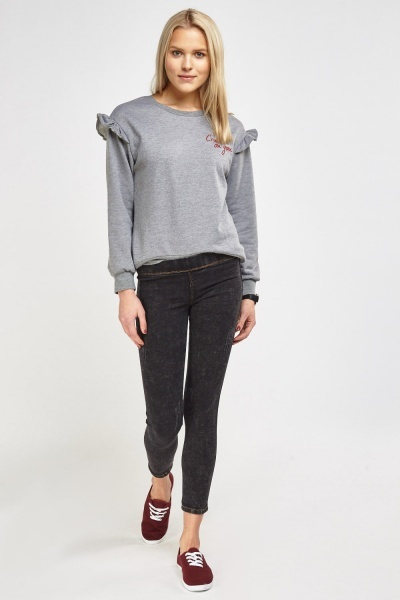 Charcoal Stitched Trim Jeggings