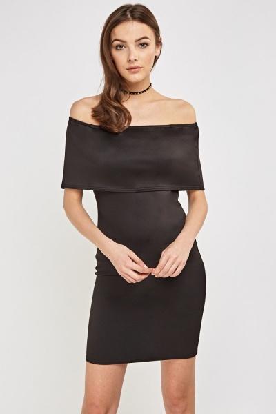 Black Overlay Bandeau Dress
