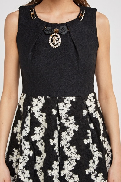 Contrast Embroidered Bodice Skater Dress