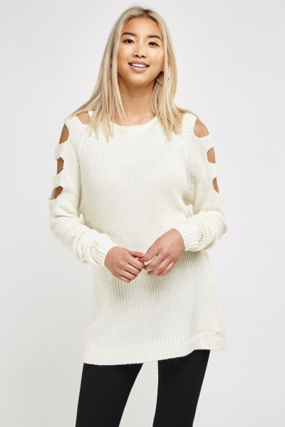 Cut Out Shoulder Rib Knit Sweater