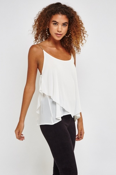 Gold Chain Strap Layered Top
