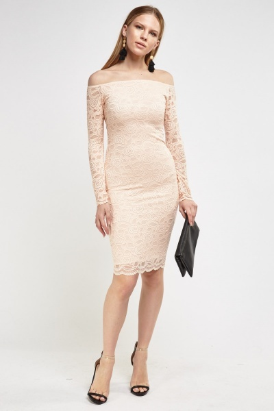 Lace Overlay Off Shoulder Bodycon Dress