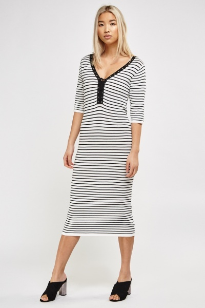 dbfa33b6f43 Lace Tie Front Stripe Midi Dress - White Black - Just £5