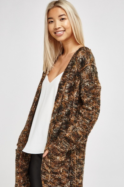 Long Speckled Knitted Cardigan