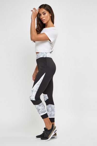 Marble Print Spiral Sports Leggings