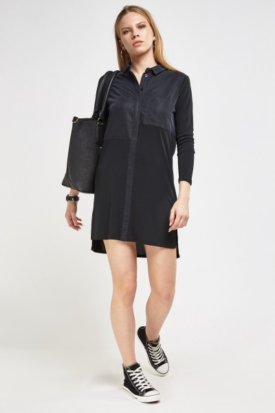 Mesh Contrast Shirt Dress