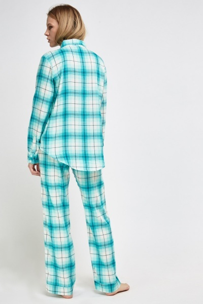 Mint Checked Pyjama Set