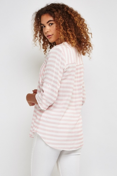 White Pink Stripe Top