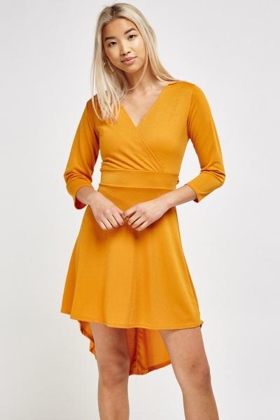 Wrap Front Asymmetric Dress