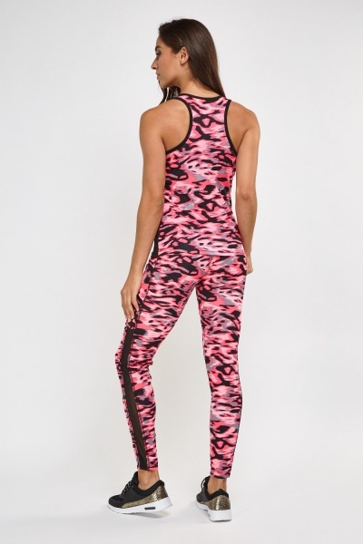 Camouflage Print Sports Top And Leggings Set