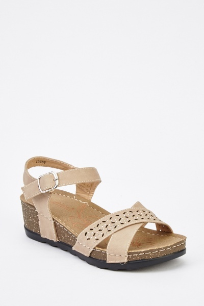 Cross Strap Front Mini Wedge Sandals