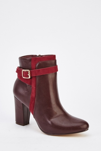 Faux Leather Buckle Sole Ankle Boots