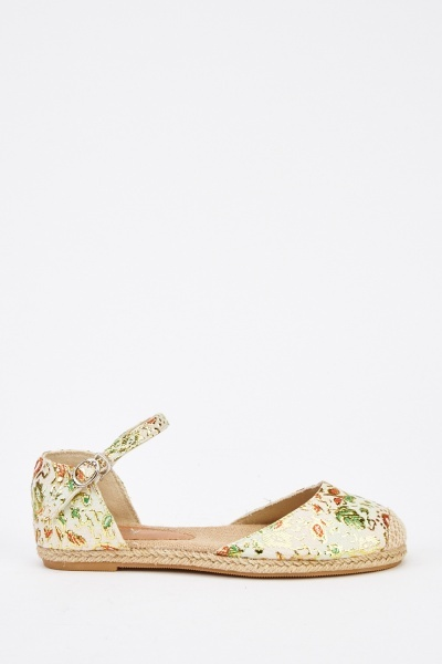 Floral Embroidered Mix Espadrilles
