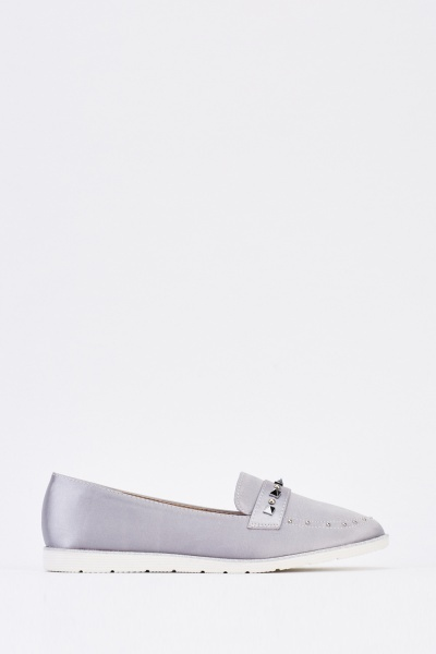 Grey Studded Sateen Shoes