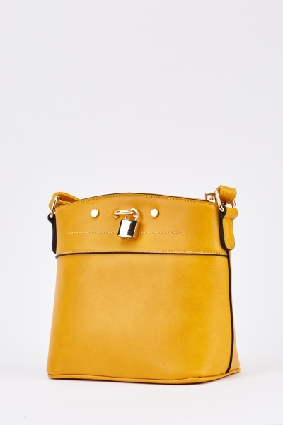 Padlock Detail Faux Leather Bag