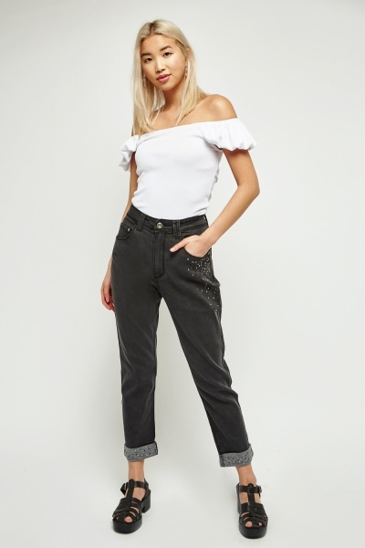 Diamante Detailed Denim Jeans
