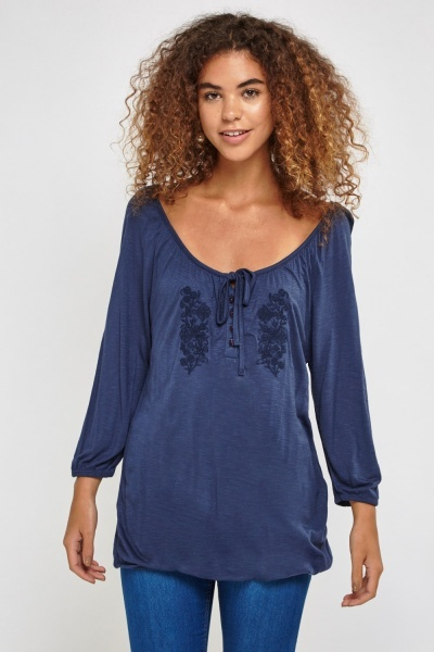 Embroidered Low Neck Front Top