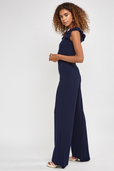 Long Flared Jumpsuit With Frilly Trim
