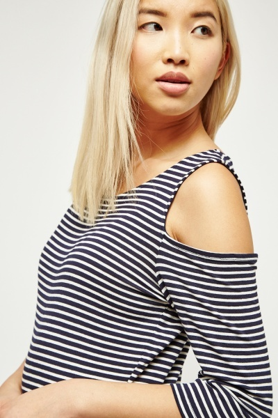 Open Cut Shoulder Stripe Top