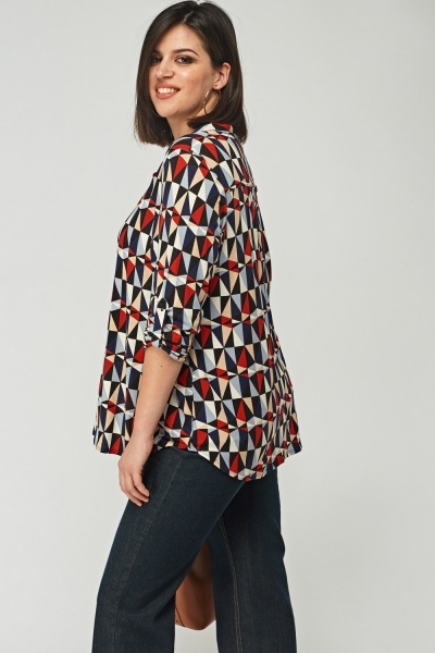Printed Button Neck Blouse