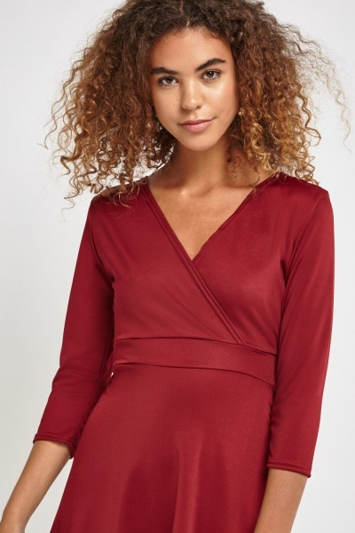 Wrap Front Asymmetric Tie Back Dress