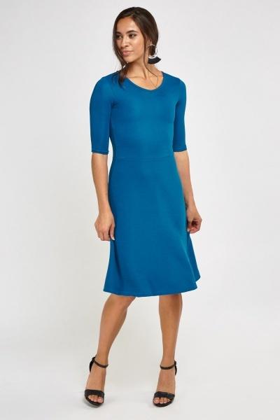 3/4 Sleeve Ribbed Midi Dress
