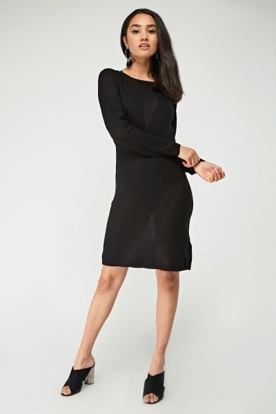 Thin Knitted Black Dress