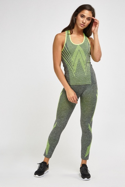 Dotted Sports Tank And Leggings Set