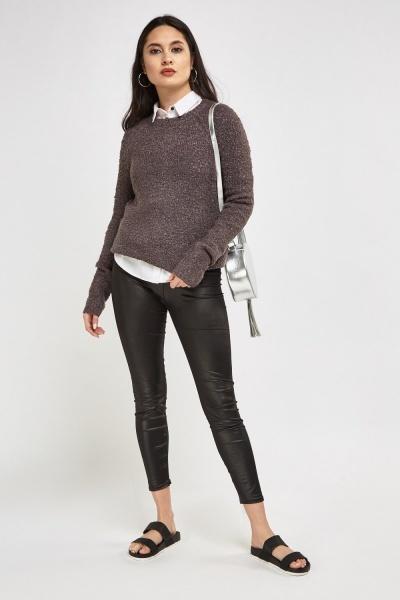 Dark Grey Textured Knit Jumper