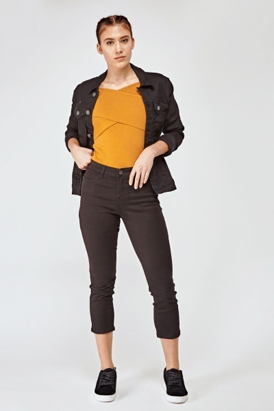 Ankle Cropped Black Jeans