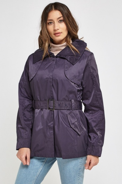 Waterproof Mac Jacket With Removable Tie Belt