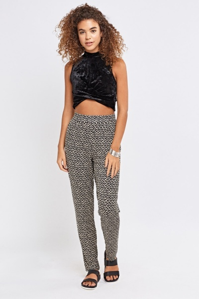 Black Velveteen Knotted Front Crop