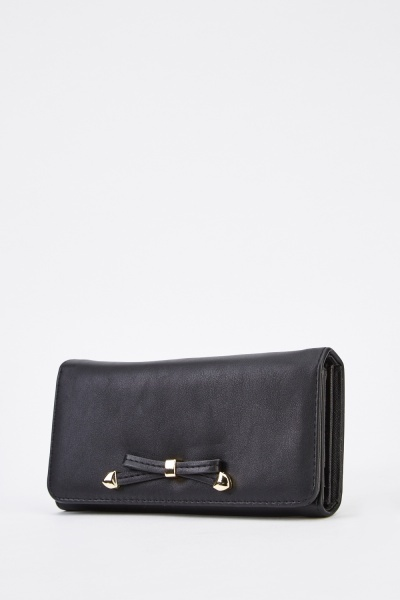 Detailed Bow Front Faux Leather Purse