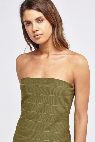 Ribbed Bandeau Bodycon Dress
