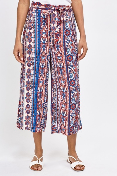 Mixed Printed Culotte Trousers