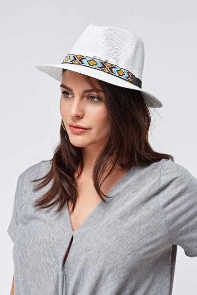 Elastic Beaded Trim Hat