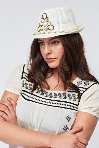 Embroidered Shell Trim Homburg Hat